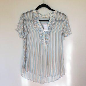 Bohme Short Sleeve Stripe Blue Yellow Blouse M